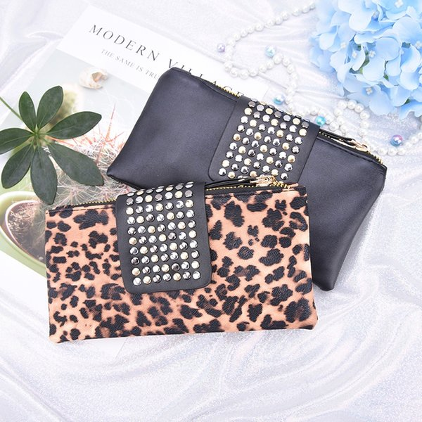 Women Leopard Print Clutch Bag Design Rivet Zipper Handbag Wallet Holder Card Coin Clutch Purse Wristlet Evening Bag Gifts #502038
