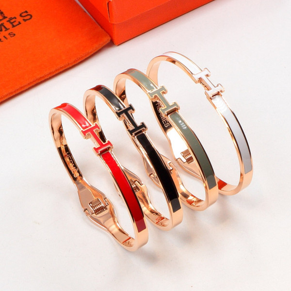 Top quality 316L stainless steel brand bracelet with enamel color of punk bangle for man and women bangle jewelry gift Free Shipping PS5367A