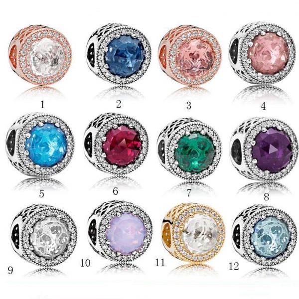 Branelli di fascino di cristallo del braccialetto di stile di Pandora dei branelli dell'argento sterlina per i braccialetti Monili del progettista delle donne di modo