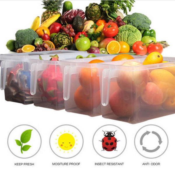 4.7L Transparente Kitchen Food Crisper Food Container Box Frigorífico Caixa de armazenamento com alça