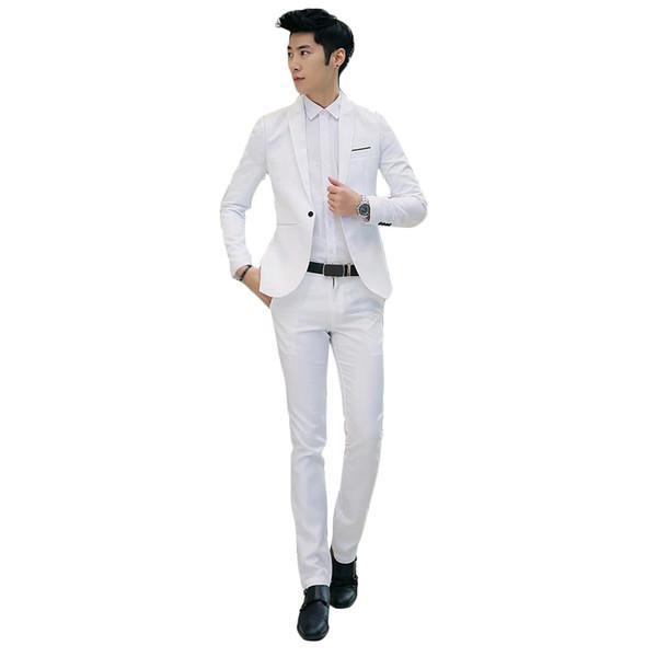 New Design Coat and Pant Suit Men Solid Color Wedding Tuxedos For Men Slim Fit Mens Suits Korean Fashion Jackets+Pants