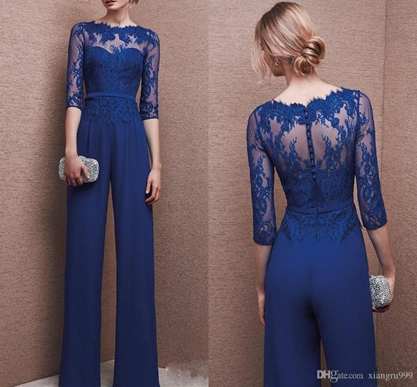Fashion Royal Blue Mother Of The Bride Pant Suits Elegant Chiffon Lace Bateau Long Sleeves Wedding Mothers Guest Dress Custom Made