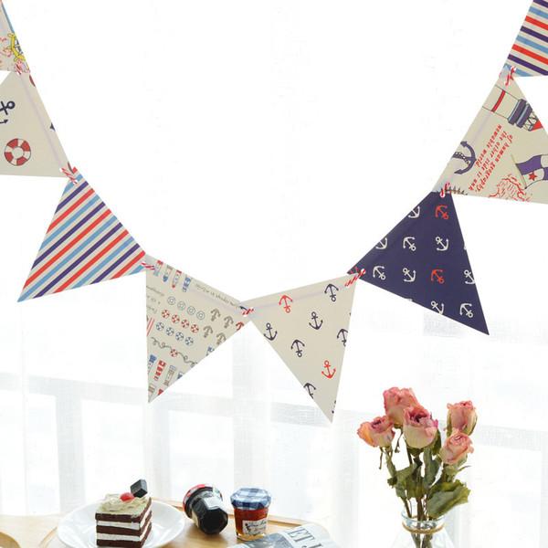 1 set blu navy tema carta cartone bandiere bandiere della stamina per baby shower festa di compleanno decorazione della casa camera dei bambini ghirlanda di gagliardetto