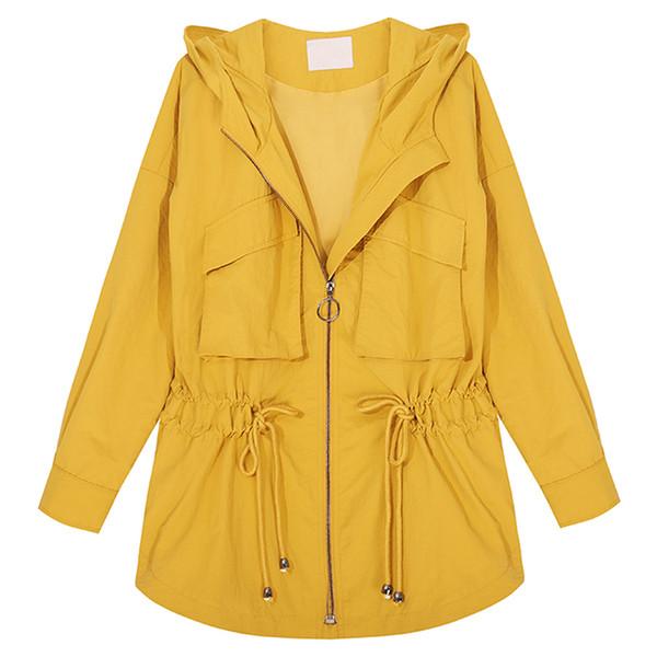 Moda Plus Size Trench Coat Para As Mulheres Primavera Casaco Com Capuz 2019 Nova Chegada Das Mulheres Blusão Amarelo Casaco Solto Fit