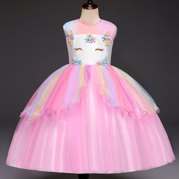 860bf44d2c458 2019 Girls Summer Clothes Unicorn Party Dress Kids Dresses For Wedding  Flower Girl Frocks Children Elegant Girls Princess Dress 4 8Y From ...