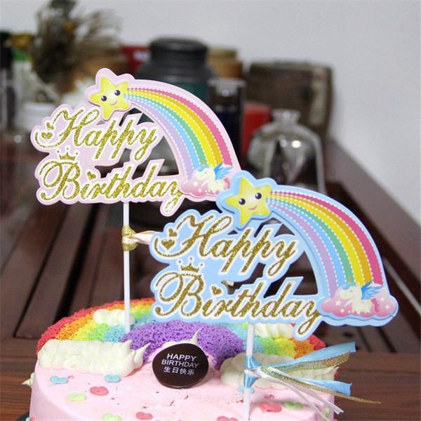 Decorazione della bandiera dell'arcobaleno dei topper del bigné di Topper della torta di buon compleanno per i rifornimenti di nozze della festa di compleanno del ragazzo cyq00120