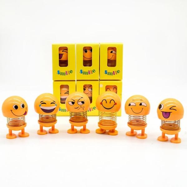 Car Ornaments Shake Head Toys Dolls Cute Cartoon Funny Emoji Car Dashboard Decoration Auto Decor Accessories