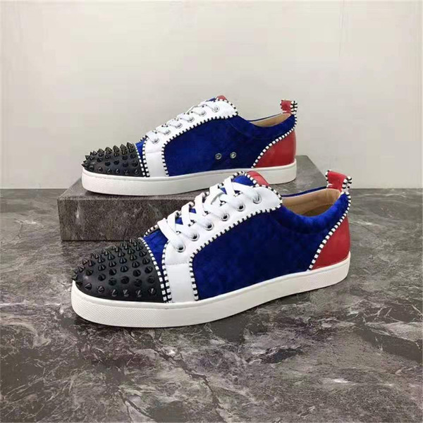 hococal 2020 new color design fashion luxury men's red bottom shoes spiked low-top casual leather sneakers men's wedding banquet dress