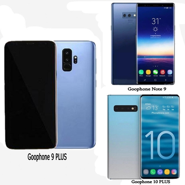 Free DHL Goophone 10 PLUS Note 9 Unlocked Cell Phones quad core 16G rom 6.5inch full Screen Show 128GB fake 4g lte Android Smartphone