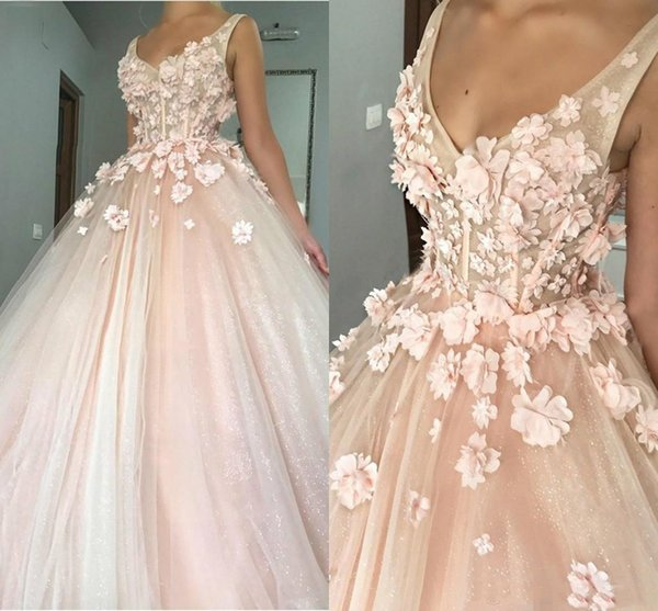 Blush Pink Cinderella Sweet 16 Prom Dresses 3D Hand Made Flowers Illusion Bling Bling Sequined Floor Length 2019 Quinceanera Evening Gowns
