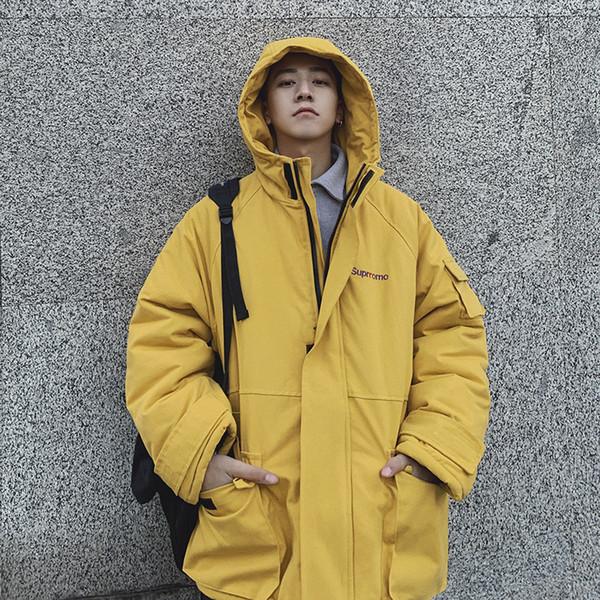 2018 dos homens de inverno com capuz de algodão jaqueta coreano versão de cor sólida solto casuais jaqueta acolchoada casaco preto / amarelo / bege M-XL