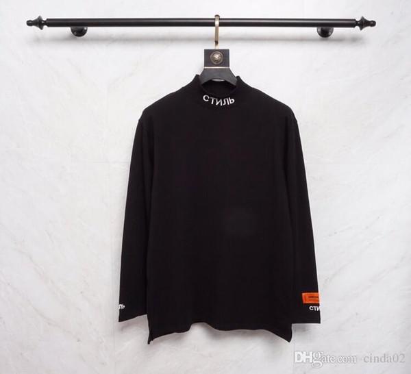 Luva longa dos homens camisetas Outono New Arrivals Hip Hop O pescoço Pullover Casual preto e laranja Tees Patchwork High Fashion Streetwears