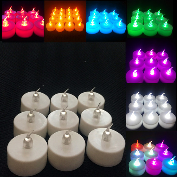 top popular LED Tealight Tea Candles Flameless Light colorful yellow Battery Operated Wedding Birthday Party Christmas Decoration 8 colors 2021