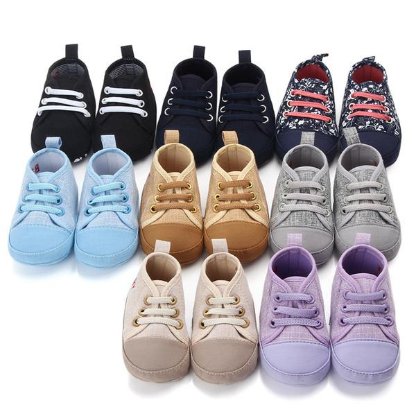 Erkek bebek kız ilk yürüteç beşik bebek serin rahat ayakkabılar Sevimli çocuklar için kaymaz Prewalker Toddler Sneaker tuval toptan