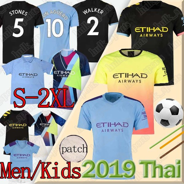 Thai 19 20 Manchester Soccer Jersey CITY MEMPHIS MATA Camisola de futebol KUN AGUERO STERLING DE BRUYNE SILVA Camiseta de fútbol soccer