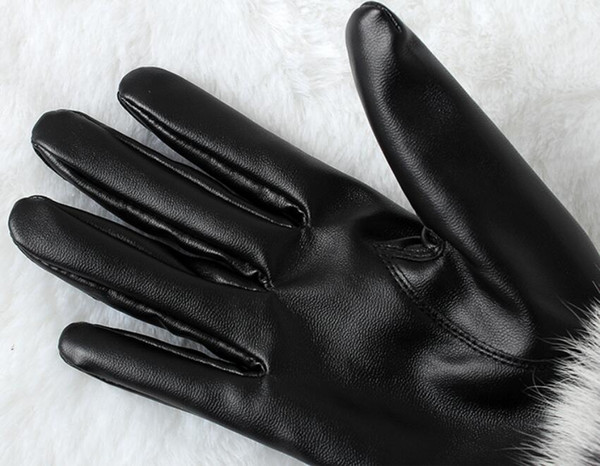 Women winter fur classic velvet Thicken Leather Sexy Luxury Driving touch screen gloves soft warm cute Windproof finger gloves