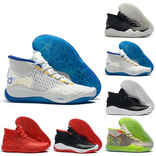KD 12 12s Men Basketball Shoes KD12 90s Kid The Day One Warriors Home Oreo Mens Trainer Sports Sneakers 7-12 Free Shipping