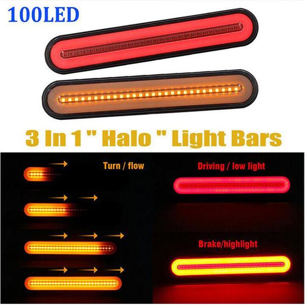 best selling New Waterproof Car Truck Brake Light 100 LED Neon Taillights Refit Tail Light Flowing Turn Signal Brake Lamp for Heavy Truck Trailer