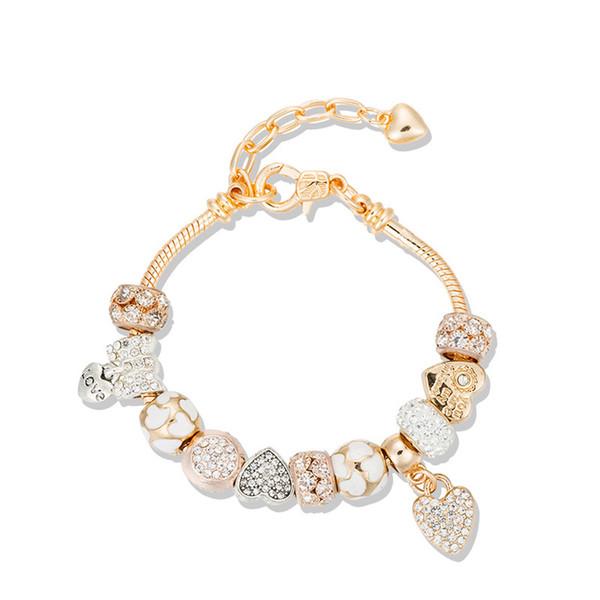 Fit Pandora European fashion Pan family set diamond bracelet slay slay temperament DIY glass pearl bracelet heart-shaped pendant bracelet