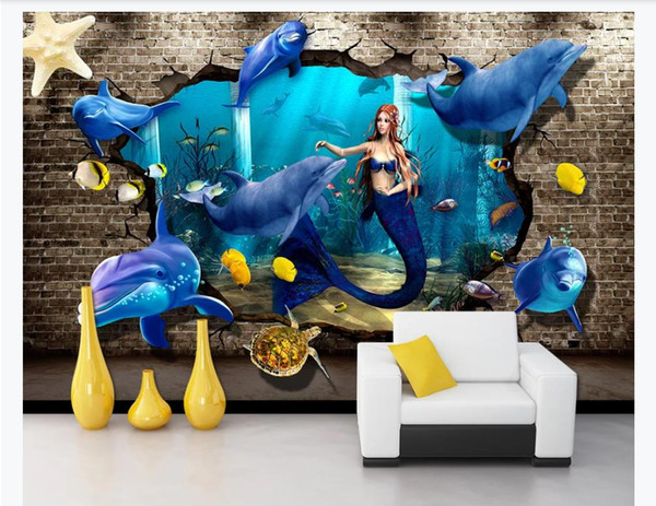 Customized 3d mural wallpaper photo wall paper Underwater World Dolphin Turtle 3D Stereo Wall Background Wall Painting Papel de parede