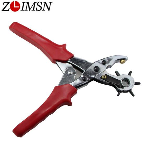 ZLIMSN multiuso fori rotanti pinze punch manico in gomma utilizzato per cinturino in pelle girevole perforazione orologi riparazione