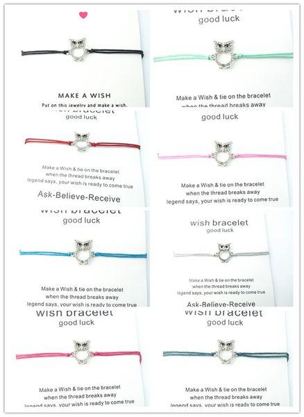 2019 Sell beautiful owl Rhine paraffin rope wishing brand bracelet adjustable bracelet jewelry