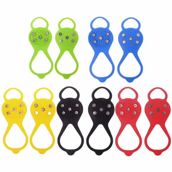 5 teeth 1 pair non slip steel(stainless) crampon ice gripper Winter Outdoor Ski shoe cover hike camp snow mountain gaiter spike