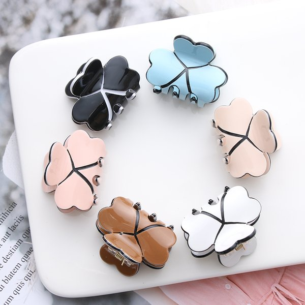 1PC Acrylic Women Mini Four Leaf Clover Hairpins Colorful Claws Clips Clamp Barrettes Hair Pins Styling Tools Accessories C19010501