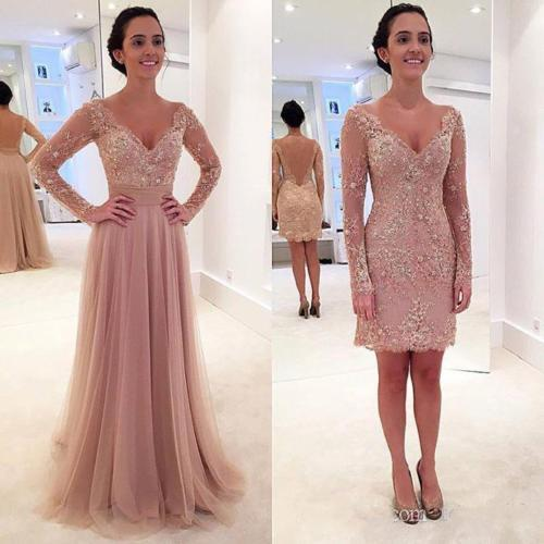 Elegant Dusty Pink Short Sheath Prom Dresses With Removeable Long Tulle Skirt Lace Appliqued Sexy Backless Modern Evening Gowns Full sleeve