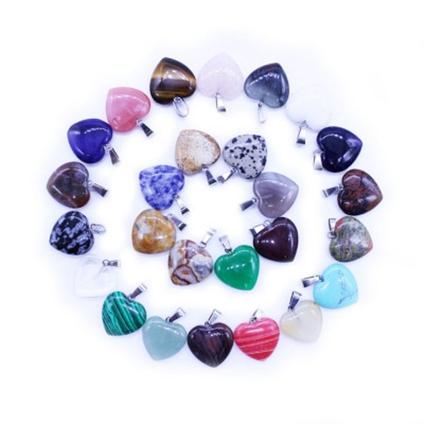 Heart Natural Stone Pendants Charms Mix Colors Loose Beads for Bracelets and Necklace DIY Jewelry Making for Women Gift NO Chain