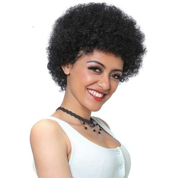 Kısa Kabarık Bobin İnsan Saç Peruk Afro Kinky Kıvırcık Tam Dantel Peruk Bakire Moğol Remy Saç Dantel Ön Peruk Doğal Siyah