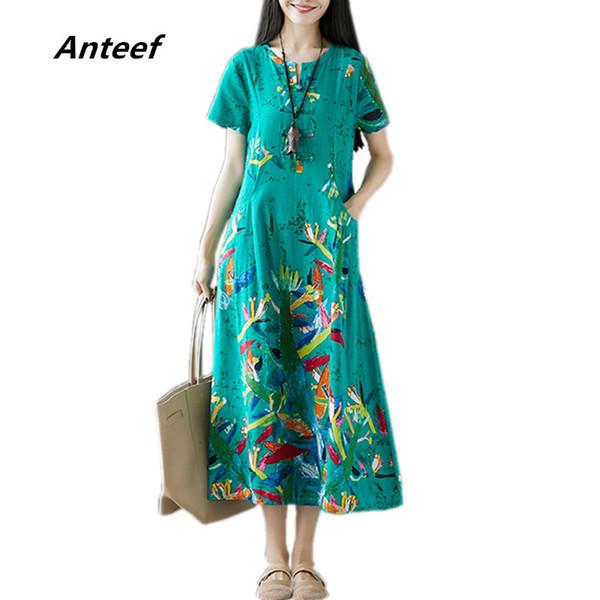 Algodón de lino Tallas grandes Vintage Floral Mujer Casual Vestido Largo de Verano Elegante Vestidos Vestidos 2019 Vestidos de Mujer Sundress J190621
