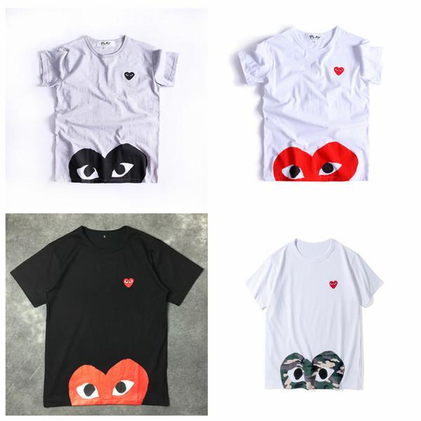 Rote Augen neues KOMMES-T-Shirt CDG mit Baumwollkurzem Hülsen-DES-WEG vom Feiertags-Stickerei-Herzen Emoji GARCONS weiße preiswerte Unisext-shirts Größe S-XL
