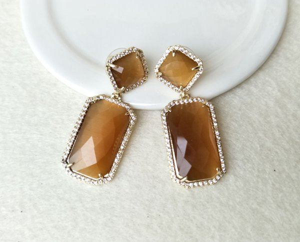 Gold Plated Drusy Faceted Glass Crystal Earring With Pave Zircon Dangle Earrings Gem stone Jewelry For women ER117