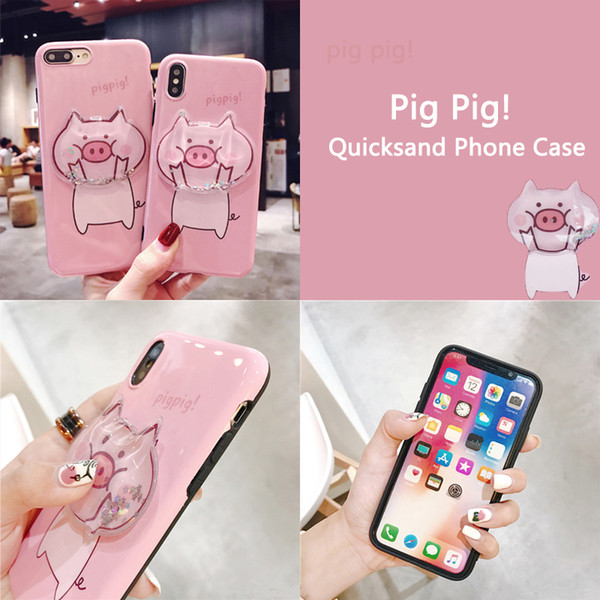Pink Pig Cartoon phone Case phone Holder lanyards Kickstand For i phone Xs XR XS max 8 7 6P Vivo Oppo Mobile phones