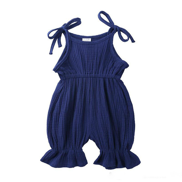 summer new baby jumpsuit cotton and linen ins cute baby boy clothing lace foot climbing clothes