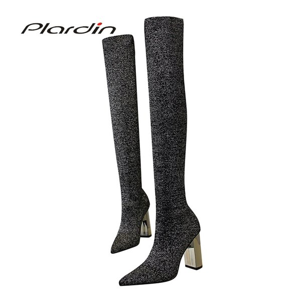 Plardin Yeni Kış Muhtasar Moda Kadın Ayakkabı Metal kare topuk kadın diz üzerinde Bling Yün Kumaş Malzeme Pompalar çizmeler