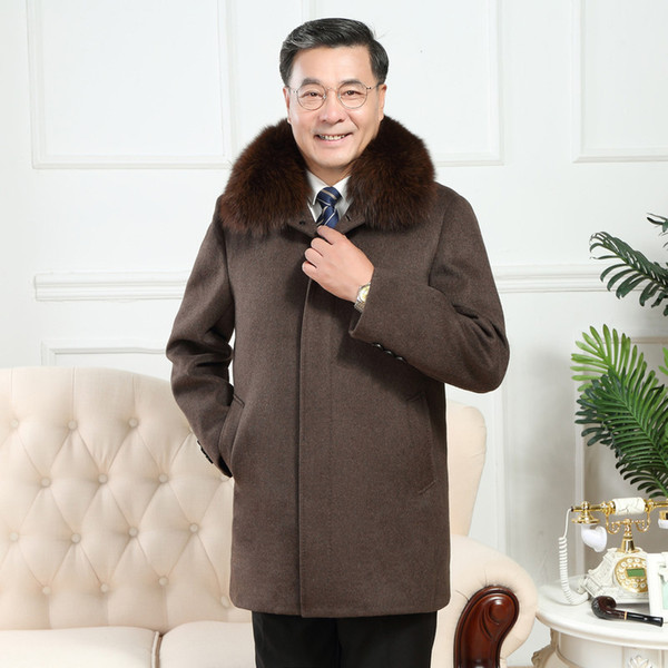 men's Fur collar cashmere coat men wool trench male turn down collar single breasted woolen outerwear 2019 new autumn winter