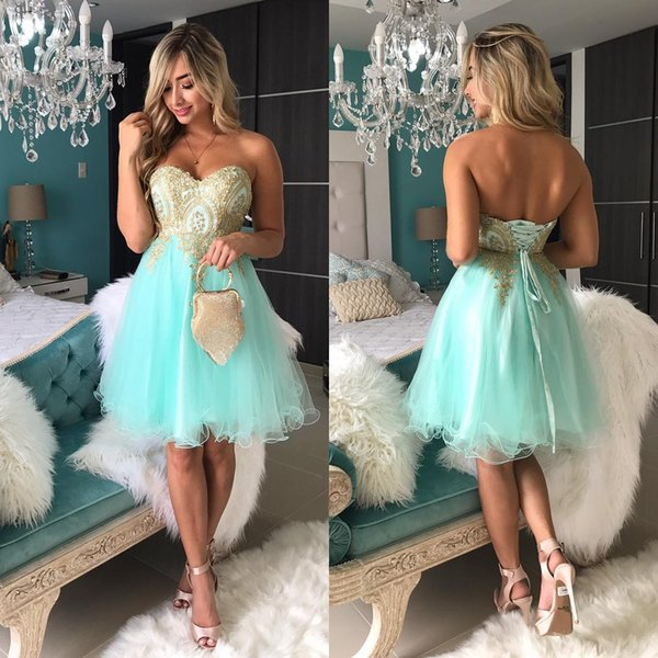 Gold Lace Mint Green Short Evening Prom Dresses Cheap Sweetheart Tulle Empire Corset Back Under 100 Homecoming Cocktail Party Dress Gowns