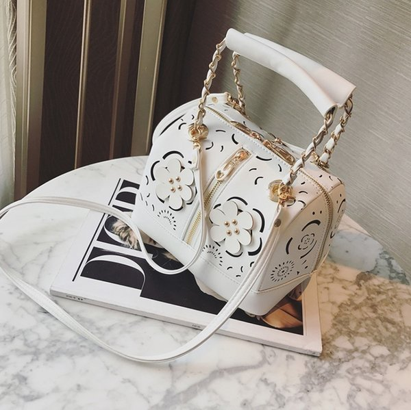 new fashion women handbag pu leather bucket bags totes hollow out flowers rivet boston bags famous designer shoulder bags ladies