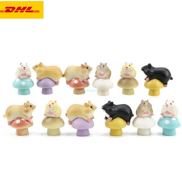 12 Pcs/set Q Version Cute Mushroom Hamster Cake Decoration Creative Exquisite Birthday Gift PVC Action Collectible Model Toy 3.5CM OPP G157