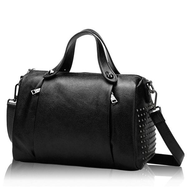 Роскошные женщины мягкая кожа натуральная кожа заклепки Messenger сумки сумки известных брендов дизайнер женская сумка Сумка досуг сумка девушка мешок