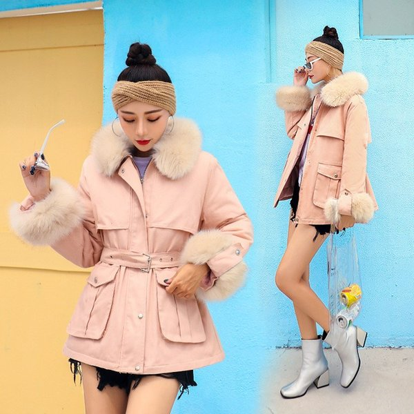 Women Faux Fur Collar Parkas Winter Jackets Fluffy Sleeve Cotton Coats With Belt Casual Overcoat Wadded Jackets
