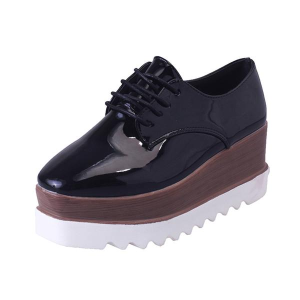 Vente chaude- Plate-forme Chaussures Pour Femmes Noir Plate-forme Brogues Derbies Femmes Oxford Chaussures Casual Dames Hauteur Augmenté Wedges Chaussures Mocassins