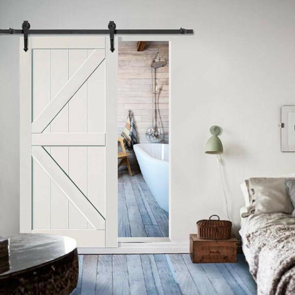 best selling 6' Slide Sliding Barn Door Hardware Track Rail Hanger Roller Closet Garage Black