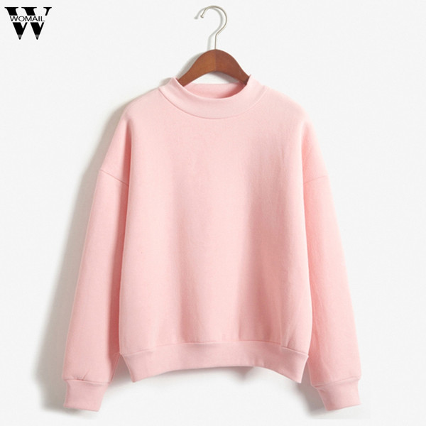 womail sweatshirts women's casual long sleeve plus velvet autumn o-neck solid color turtleneck women sweatshirt sudadera s-xxl, Black