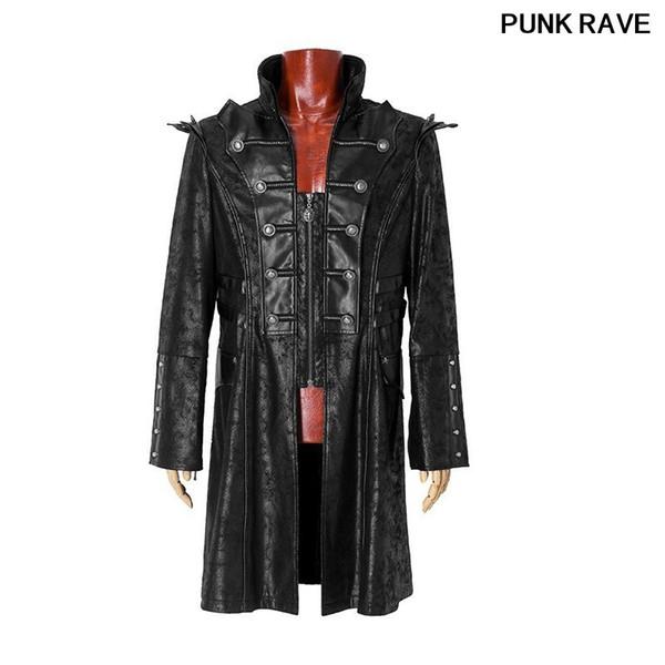 Großhandel Steampunk Gothic Rock Kunstleder Mantel Männer Armee Uniform Mäntel Punk Stehkragen Coole Männer Casual Lange Jacken PUNK RAVE Y 366 Von