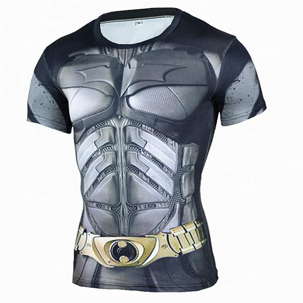 2019 Marvel Superhero Batman 3D camisetas impresas Camisa de running Hombres manga larga transpirable Rashgard Man Gym Fitness Ciclismo camiseta Top