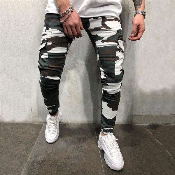 2019 new camouflage pant men hip hop weatpant ca ual treetwear trou er camo cargo pant kinny, Black