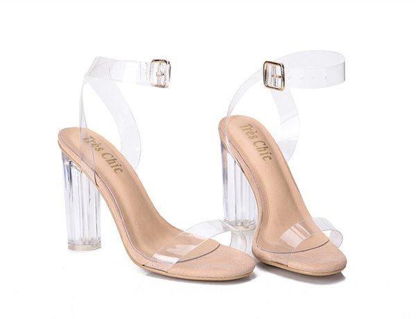 Newest Women Pumps Buckle Sandals High Heels Shoes Celebrity Wearing Simple Style PVC Clear Transparent StrappyD3